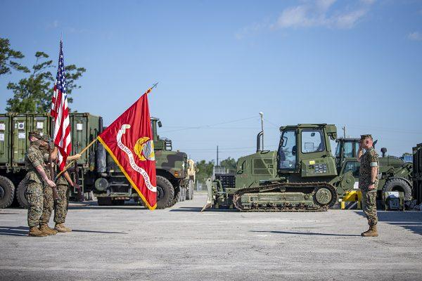 Marines salute unit colors