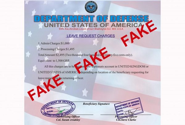 fake leave request used by military dating scammers
