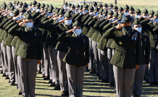 first BCT battery to graduate wearing the new Army Green Service Uniform