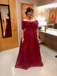 Opera Wilmington Board Member Tanya Hanano backstage after a live performance