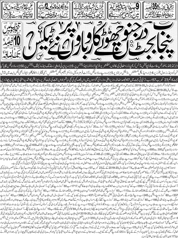 Highlights Of Punjab Budget 2019 2020 Overseas Pakistani Friends