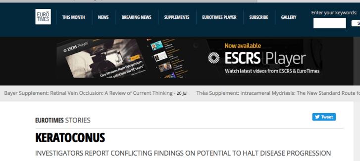 L'interview du magazine Eurotimes sur le traitement kératocône
