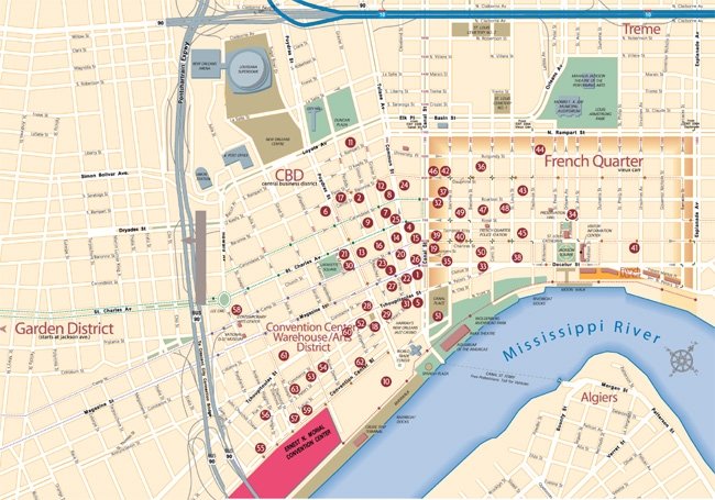 French Quarter Map French Quarter French Quarter Map And French Quarter Map  New Orleans Self Guided And Walking Tours Tour Departures Driving  Directions ...