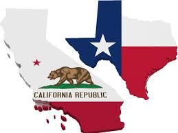 California and Texas state flag