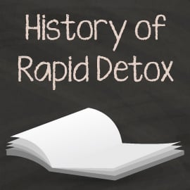 History of rapid detox written above an open book with white pages