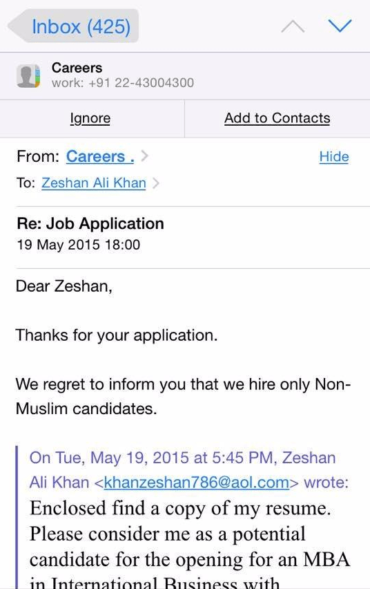 Snapshot of email chain posted by Zeshan