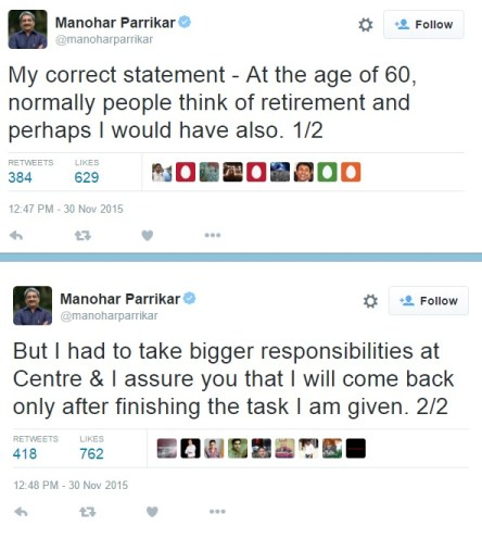 parrikar retirement