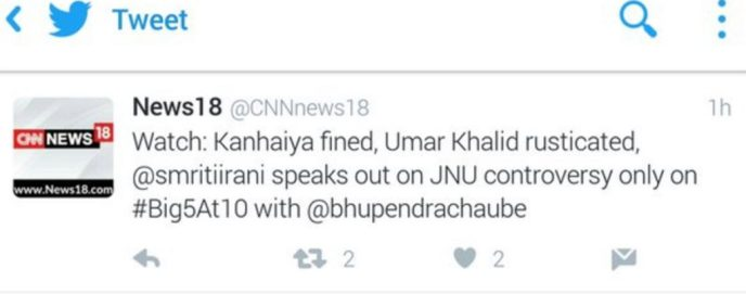 The tweet which CNN News 18 later deleted