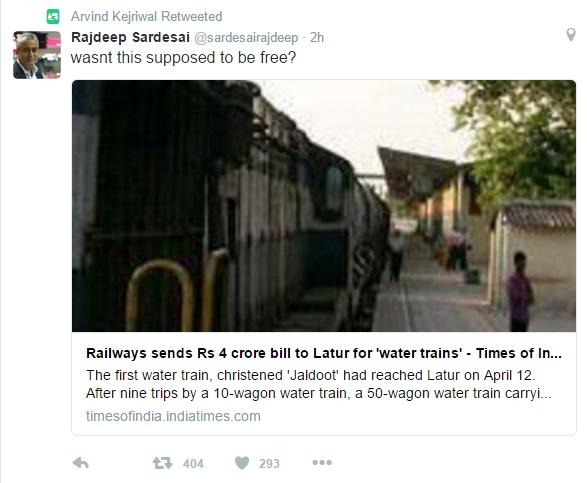 Rajdeep's tweet Retweeted by Kejriwal