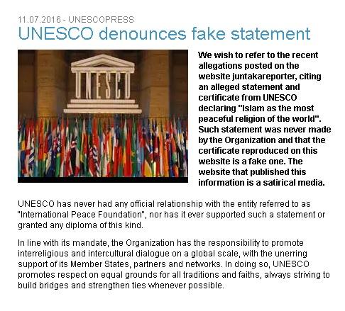 UNESCO Denies the news