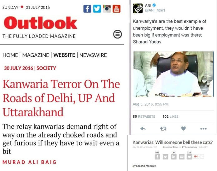 News reports on Kaanwar Yatra
