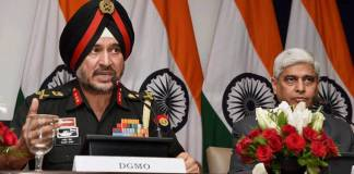 New Delhi: Director General Military Operations (DGMO), Ranbir Singh salutes after the Press Conferences along with External Affairs Spokesperson Vikas Swarup, in New Delhi on Thursday. India conducted Surgical strikes across the Line of Control in Kashmir on Wednesday night. PTI Photo by Shirish Shete (PTI)