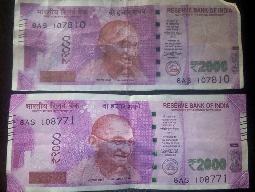 Fake 2000 rupee note.