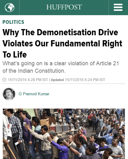 Huffington Post India on Demonetisation