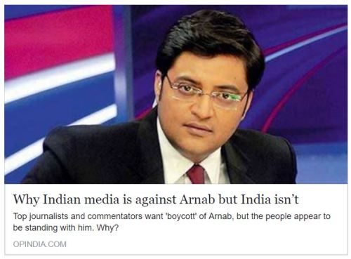 Why Indian media is against Arnab but India isn't