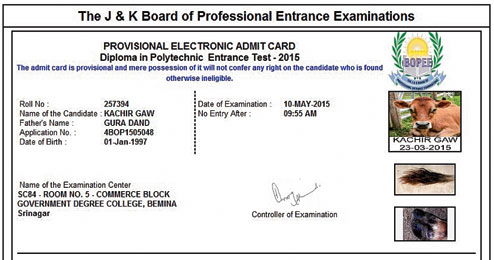 Cow's admit card
