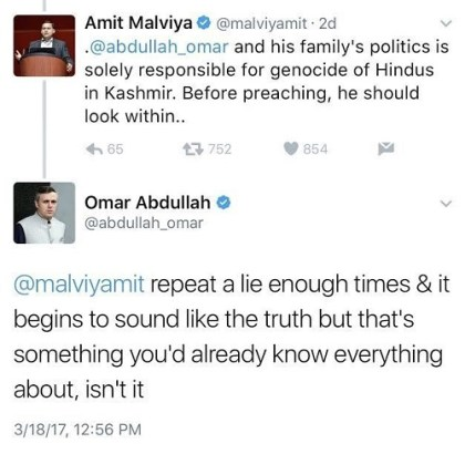 Omar Abdullah's tweet on Kashmiri Pandits exodus and genocide