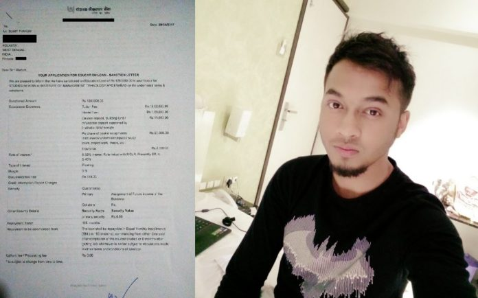 Education loan letter to Sumit Thakur
