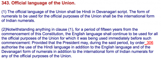 Hindi is official language of the Union as per the constitution