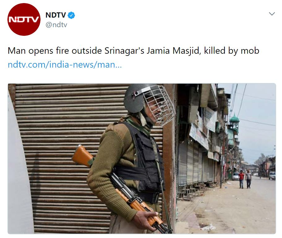 How NDTV tried to whitewash lynching of Kashmiri policeman outside Mosque