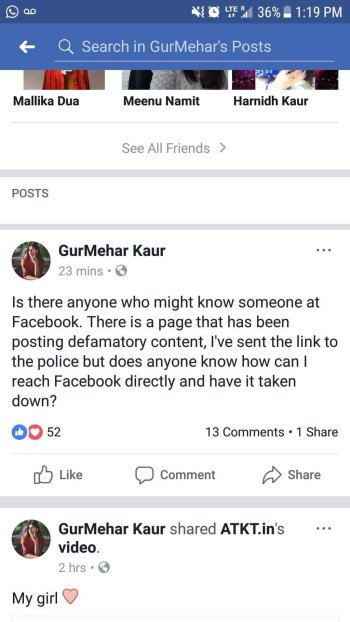 Gurmeher Kaur wanting to delete a Facebook page she doesn't like