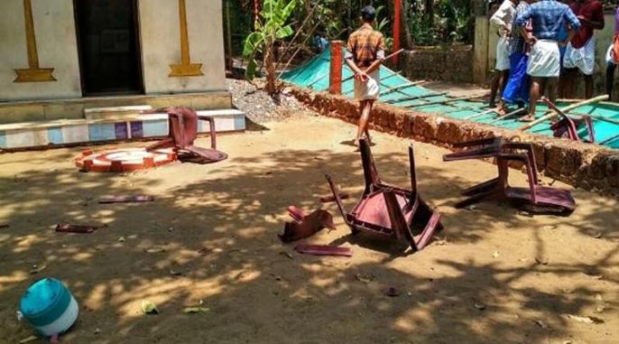 temple vandalised during kerala hartal