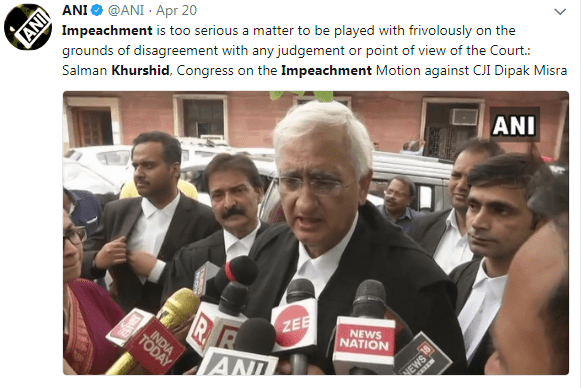 Salman Khushid on impeachment motion