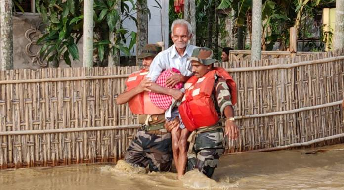 thousands of people are stranded due to floods in NE India