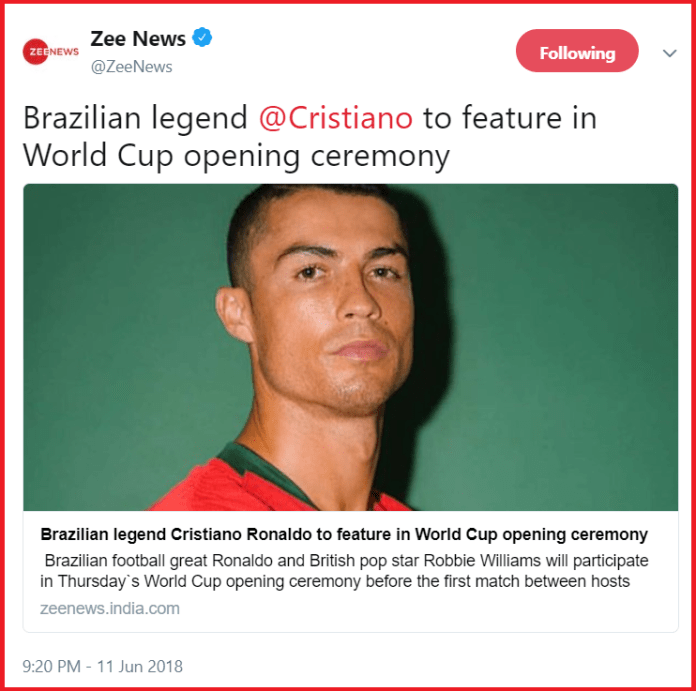 Zee News commits major goof up while reporting about the upcoming football World Cup