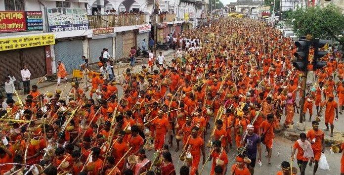 Millions of Hindus take part in the Kanwar Yatras each year