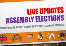 Madhya Pradesh, Chhattisgarh, Rajasthan, Telangana, Mizoram assembly election results