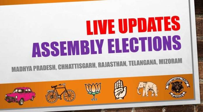 Madhya Pradesh, Chhattisgarh, Rajasthan, Telangana, Mizoram assembly election results