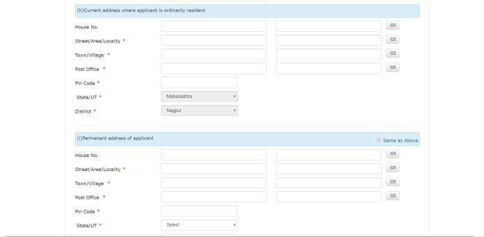 Address detail in voter registration form on NVSP portal