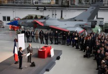 French Defence Minister Florence Parly announcing the development of F4 standard of Rafale