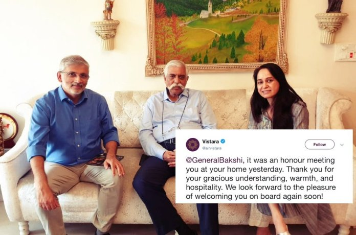 'We look forward to the pleasure of welcoming you on board again soon': Vistara posts picture with Gen GD Bakshi again after liberal bullying got them to delete their first tweet