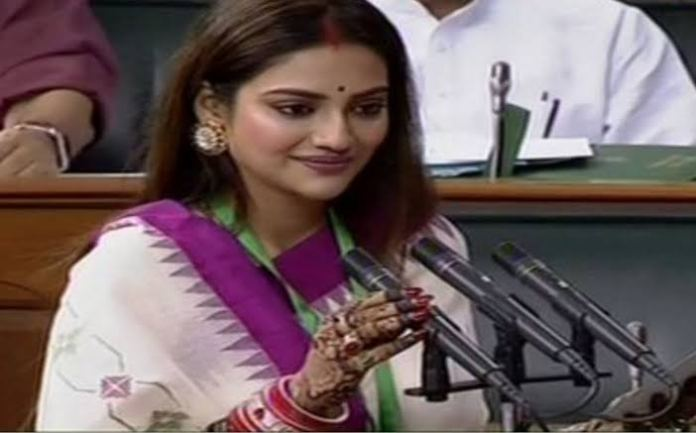 Nusrat Jahan, the newly elected MP in Parliament