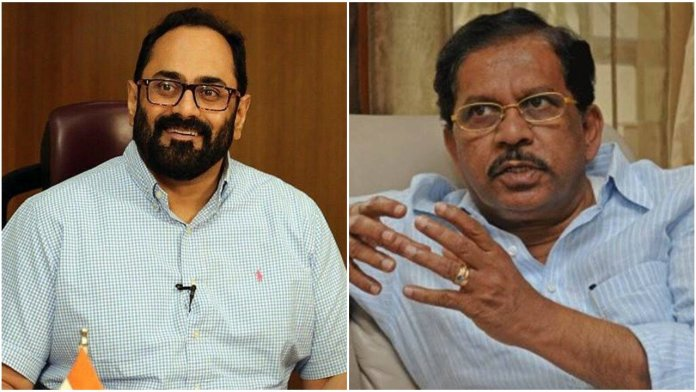 G Parameswara claims Rajeev Chandrasekhar's involvement in flying out rebel MLAs as the chartered plane belonged to company associated with him