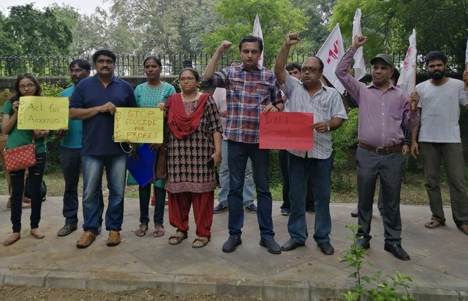 DYFI members hold 'protests' over Amazon forest fires at Brazilian embassy on a Sunday