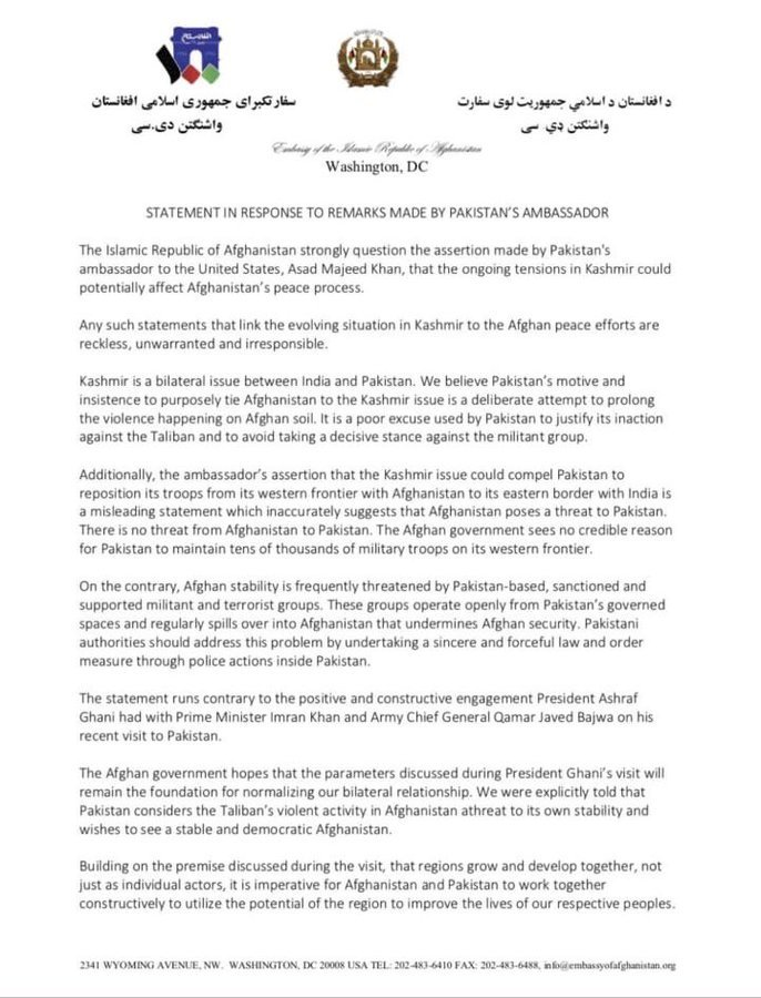 Afghan's embassy in DC has issued a letter condemning Pakistan's attempts to link the Kashmir issue with Afghan peace process