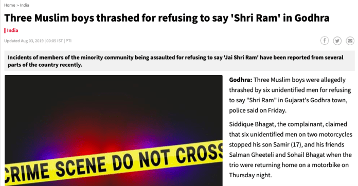 Times Now has carried a PTI feed that has claimed a communal angle in the incident despite the police statements that the allegations were false