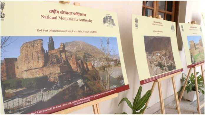 """Exhibits on display during an exhibition on """"National Unity through Monuments"""" organised on the occasion of the 69th birthday of Prime Minister"""