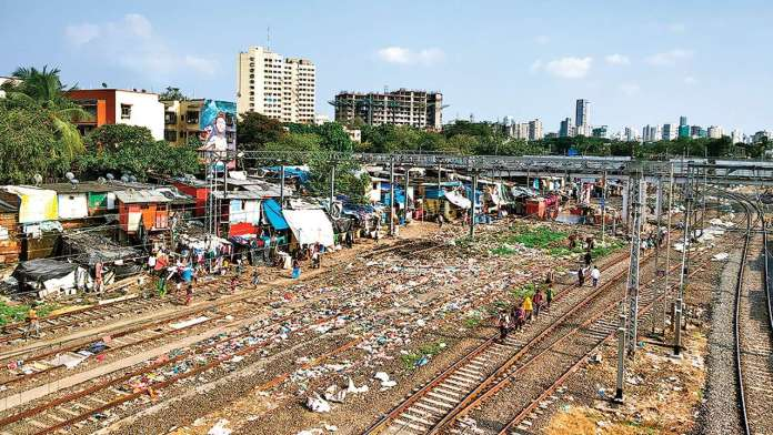 garbage on railway tracks