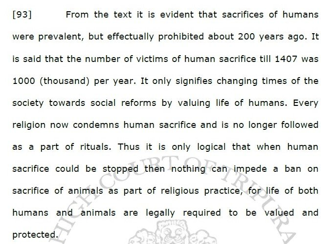 Tripura High Court order banning animal sacrifice