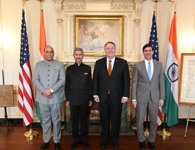 Indian Defence and Foreign ministers with their American counterparts in the 2+2 dialogues