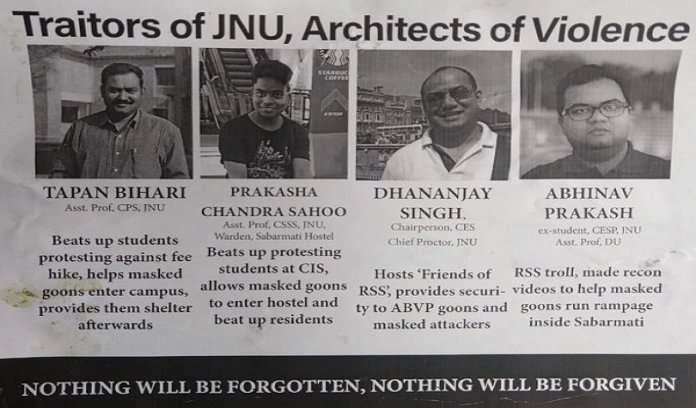 Traitors of JNU, Architects of Violence, Nothing will be forgotten: Naxal-style poster seeking revenge on non-left professors and alumni put up inside JNU