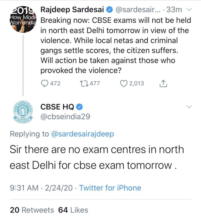 Rajdeep Sardesai shares misleading info about CBSE exams in Delhi