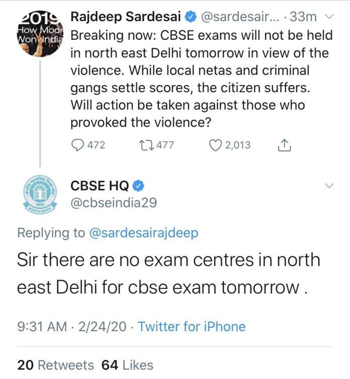 Rajdeep Sardesai shares misleading info about CBSE exams in Delhi