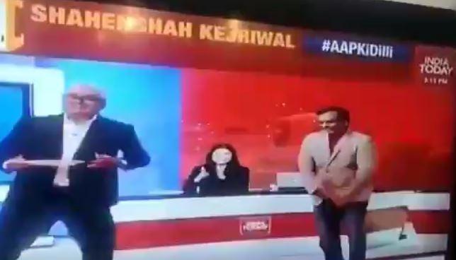 Rajdeep Sardesai dances with psephologist Pradeep Gupta on air as AAP wins Delhi elections - Opindia News