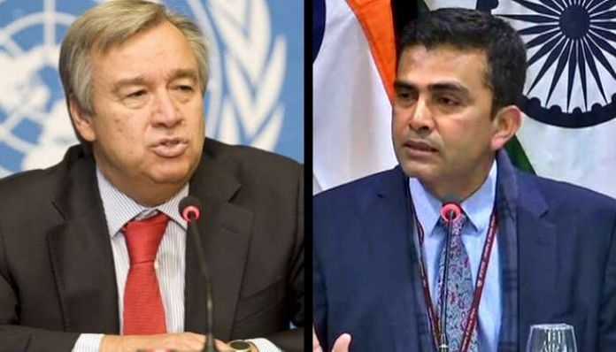 India trashes mediation offer on Kashmir by UN chief Antonio Guterres, says focus should be on Pakistan vacating Indian territory that it has illegally and forcibly occupied