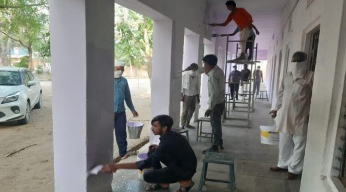 Migrant workers in Rajasthan turn adversity into opportunity as they paint the quarantine centre they are held in amidst coronavirus lockdown